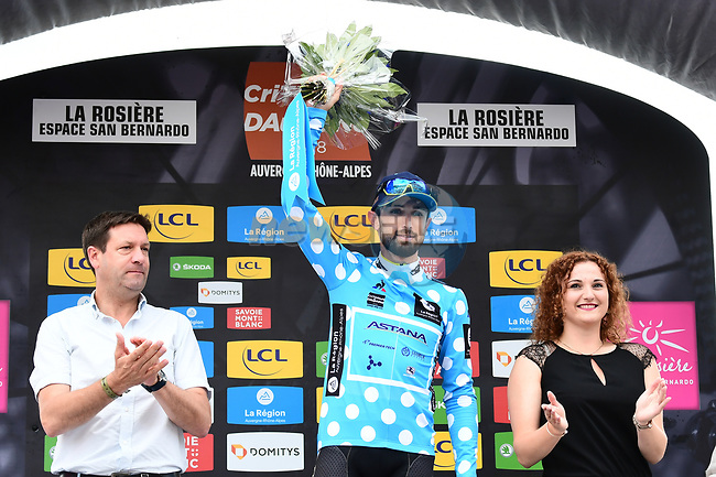 Dario Cataldo (ITA) Astana Pro Team retains the mountains the Polka Dot Jersey at the end of Stage 6 of the 2018 Criterium du Dauphine 2018 running 110km from Frontenex to La Rosiere, France. 9th June 2018.<br /> Picture: ASO/Alex Broadway | Cyclefile<br /> <br /> <br /> All photos usage must carry mandatory copyright credit (© Cyclefile | ASO/Alex Broadway)