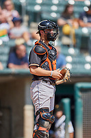 Jamie Ritchie (16) of the Fresno Grizzlies on defense against the Salt Lake Bees at Smith's Ballpark on September 3, 2018 in Salt Lake City, Utah. The Grizzlies defeated the Bees 7-6. (Stephen Smith/Four Seam Images)