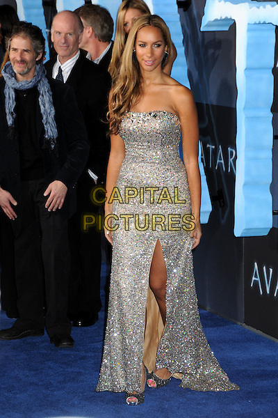"LEONA LEWIS .""Avatar"" Los Angeles Premiere held at Grauman's Chinese Theatre, Hollywood, California, USA, 16th December 2009..full length silver strapless dress long maxi slit split beige beaded sparkly jewel encrusted embellished open toe shoes.CAP/ADM/BP.©Byron Purvis/Admedia/Capital Pictures"