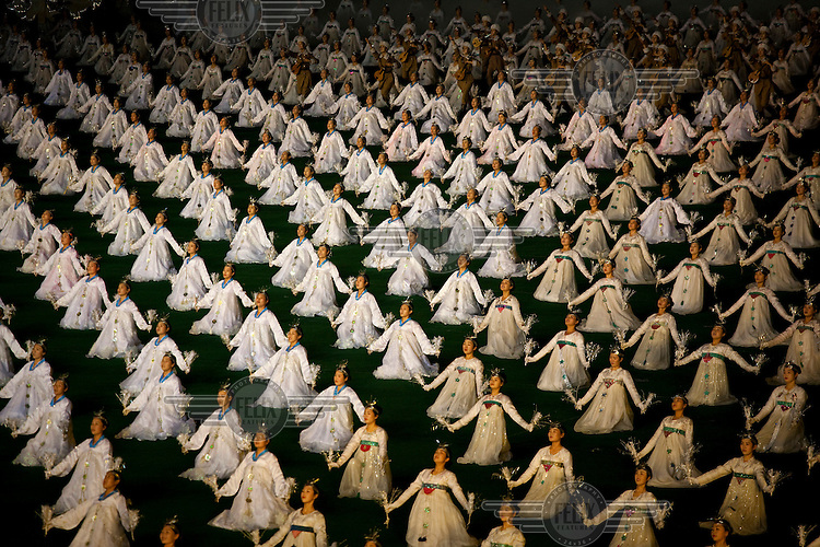 Women perform in synchronisation at the Arirang Mass Games, a performing arts and gymnastics festival in Pyongyang.