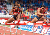 Cindy Ofili of Great Britain (left) and Alicia Barrett of Great Britain competing in the Women's 100m Hurdles during the Muller Grand Prix  IAAF Diamond League meeting at Alexander Stadium, Perry Barr, Birmingham.<br /> Picture by Alan Stanford +44 7915 056117<br /> 18/08/2018