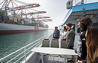 Occidental College students in Professor Jesse Mora's economics class, Econ 352: Firm-Level International Trade and Investment, take a tour of the Port of Long Beach on March 31, 2018. The group learned about the busy shipping port, which is next to the Port of Los Angeles.<br />