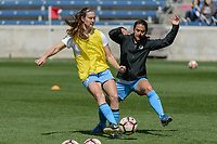 Bridgeview, IL - Saturday April 22, 2017: Katie Naughton, Jen Hoy during a regular season National Women's Soccer League (NWSL) match between the Chicago Red Stars and FC Kansas City at Toyota Park.