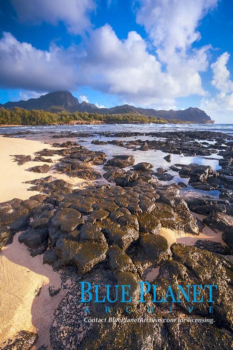 Mahaulepu Beach, at sunrise, Mount Haupu in background, Kawailoa Bay, Kauai, Hawaii, USA, Pacific Ocean