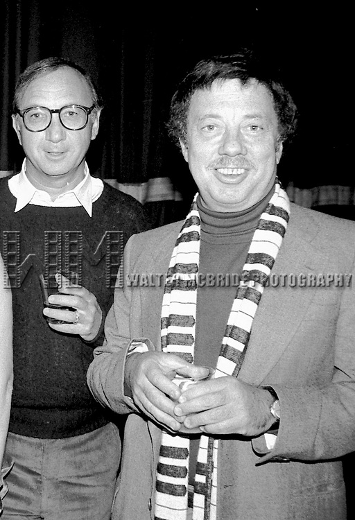 Neil Simon and Cy Coleman Attending a party after a performance of LITTLE ME at the Eugene O'Neill Theatre in New York City.<br />November 1982