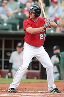 Brad Snyder (23 in action during the MiLB matchup between the Sacramento River Cats and the Oklahoma City Redhawks at Chickasaw Bricktown Ballpark on August 12th, 2012 in Oklahoma City, Oklahoma. The River Cats defeated the Redhawks 3-1  (William Purnell/Four Seam Images)