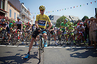 &quot;It's lonely at the front&quot;: yellow jersey Chris Froome (GBR/SKY) waiting for the start<br /> <br /> stage 12: Lannemezan - Plateau de Beille (195km)<br /> 2015 Tour de France