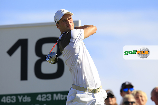 Martin Kaymer (GER) tees off the 18th tee during Sunday's Final Round of the 2013 Portugal Masters held at the Oceanico Victoria Golf Club. 13th October 2013.<br /> Picture: Eoin Clarke/www.golffile.ie