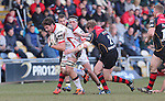 Flanker Iain Henderson drives Ulster forward.<br /> Guinness Pro12<br /> Gwent Dragons v Ulster<br /> 08.03.15<br /> &copy;Steve Pope - SPORTINGWALES