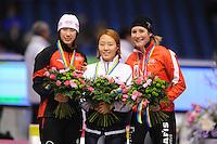 SCHAATSEN: HEERENVEEN: IJsstadion Thialf, 18-11-2012, Essent ISU World Cup, Season 2012-2013, Ladies 1000 meter Division B, podium, Peiyu Jin 9CHN), Sang-Hwa Lee (KOR), Anastasia Bucsis (CAN), ©foto Martin de Jong