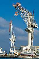 Two large cranes on La Ciotat Port, France, Provence.