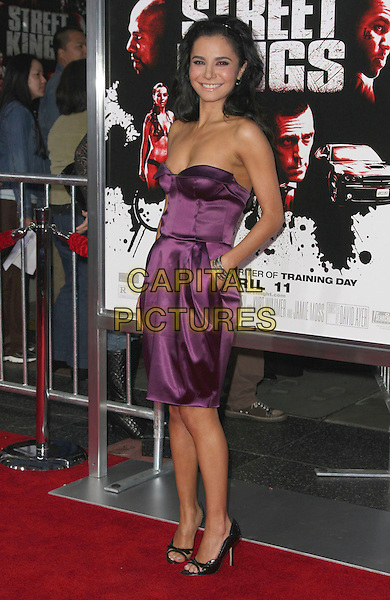 "MARTHA HIGAREDA .""Street Kings"" Los Angeles Premiere held at Grauman's Chinese Theatre, Hollywood, California, USA,.03 April 2008..full length purple strapless dress hands in pockets black open-toe shoes  .CAP/ADM/`CH.©Charles Harris/Admedia/Capital PIctures"