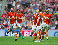 Blackpool players celebrating Blackpool's Mark Cullen goal during the Sky Bet League 2 PLAY OFF FINAL match between Exeter City and Blackpool at Wembley Stadium, London, England on 28 May 2017. Photo by Andrew Aleksiejczuk.
