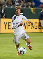 LA Galaxy midfielder David Beckham (23) moves the ball up field during the second half of the game between LA Galaxy and the Columbus Crew at the Home Depot Center in Carson, CA, on September 11, 2010. LA Galaxy 3, Columbus Crew 1.