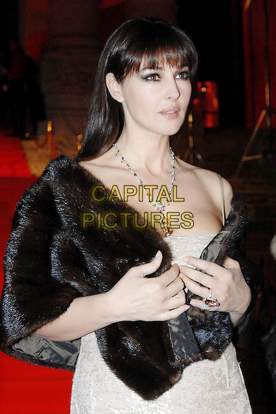 MONICA BELLUCCI.Attending the Cartier Spring Party at the Galleria Nazionale which  marks the launch of the jewellery collection Delices de Cartier, Rome, Italy..March 21st, 2007.half length pearl diamond necklace jewelry black fur wrap shawl .CAP/OME.© Capital Pictures.