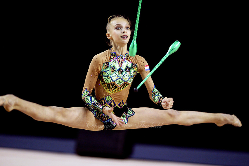 September 25, 2003; Budapest, Hungary; ANNA POBOKOVA of Netherlands performs with clubs at 2003 World Championships.