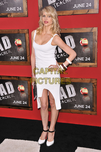 "Lucy Punch.""Bad Teacher"" New York Premiere, New York City, NY, USA..June 20th, 2011.full length white sleeveless dress hand on hip bracelets ankle strap shoes bangles .CAP/ADM/CS.©Christopher Smith/AdMedia/Capital Pictures."