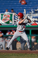 Auburn Doubledays left fielder Gage Canning (14) at bat during a game against the Batavia Muckdogs on June 28, 2018 at Dwyer Stadium in Batavia, New York.  Auburn defeated Batavia 14-9.  (Mike Janes/Four Seam Images)