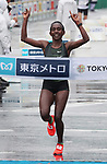March 3, 2019, Tokyo, Japan - Ethiopia's Ruti Aga crosses the finish line of the Tokyo Marathon 2019 in Tokyo on Sunday, March 3, 2019. Aga won the women's race with a time of 2 hours 20 minutes 40 seconds.  (Photo by Yoshio Tsunoda/AFLO)