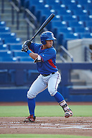 AZL Rangers Heriberto Hernandez (4) at bat during an Arizona League game against the AZL Brewers Blue on July 11, 2019 at American Family Fields of Phoenix in Phoenix, Arizona. The AZL Rangers defeated the AZL Brewers Blue 5-2. (Zachary Lucy/Four Seam Images)
