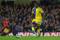 Nosa Igiebor of Maccabi Tel Aviv plays a pass during the UEFA Champions League match between Chelsea and Maccabi Tel Aviv at Stamford Bridge, London, England on 16 September 2015. Photo by Andy Rowland.