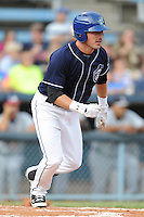 Asheville Tourists right fielder Kyle Parker #8 runs to first during a game against the Rome Braves at McCormick Field on August 20, 2011 in Asheville, North Carolina. Rome won the game 10-9.   (Tony Farlow/Four Seam Images)