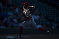 Potomac Nationals starting pitcher Luis Reyes (35) delivers a pitch to the plate against the Winston-Salem Dash at BB&T Ballpark on August 5, 2017 in Winston-Salem, North Carolina.  The Dash defeated the Nationals 6-0.  (Brian Westerholt/Four Seam Images)