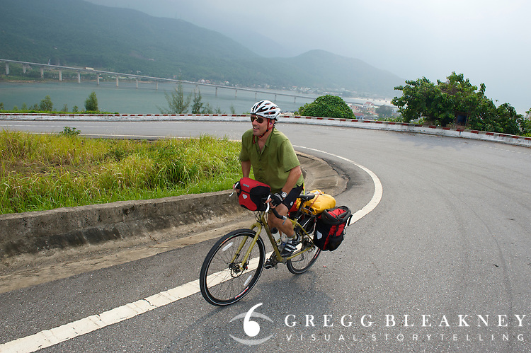 Cycling over Hai Van Pass, the historical division point between North and South Vietnam - Vietnam