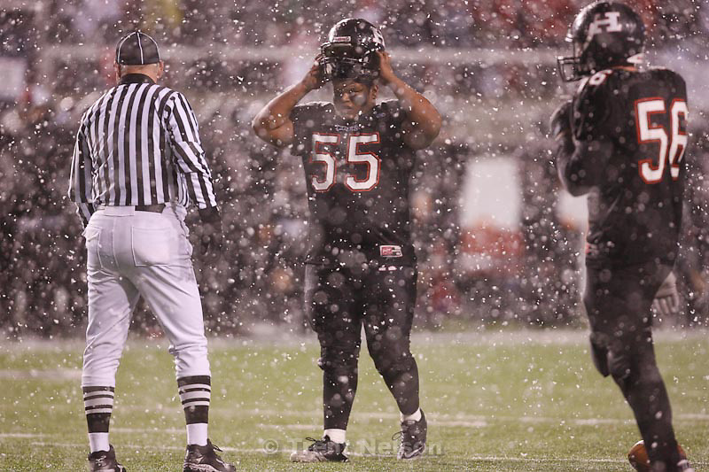 Trent Nelson  |  The Salt Lake Tribune.Hurricane's Sean Hafen, caught in the first half snow. Hurricane vs. Desert Hills in the 3A State Championship high school football game at Rice-Eccles Stadium in Salt Lake City, Utah, Friday, November 18, 2011.