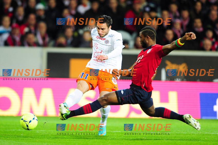 Aurelien Chedjou (Lille) vs Emanuel Herrera (Montpellier ) .Football Calcio 2012/2013 Ligue 1.Francia.Foto Panoramic / Insidefoto .ITALY ONLY