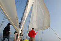 - the oceanic sailing boat CS&RB, managed by the Mondolasco cooperative of Ravenna, in navigation in the northern Adriatic sea ....- la barca a vela oceanica CS&RB, gestita dalla cooperativa Mondolasco di Ravenna, in navigazione nel mare Adriatico settentrionale