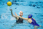 INDIANAPOLIS, IN - MAY 14: Kat Klass (10) of Stanford University is guarded by Kelsey O'Brien (11) of UCLA during the Division I Women's Water Polo Championship held at the IU Natatorium-IUPUI Campus on May 14, 2017 in Indianapolis, Indiana. Stanford edges UCLA, 8-7, to win fifth women's water polo title in the past seven years. (Photo by Joe Robbins/NCAA Photos/NCAA Photos via Getty Images)