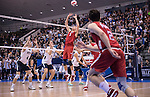 07 MAY 2016: Christy Blough (5) of Ohio State University sets the ball against Brigham Young University during the Division I Men's Volleyball Championship held at Rec Hall on the Penn State University campus in University Park, PA.  Ohio State defeated BYU 3-1 for the national title.  Ben Solomon/NCAA Photos