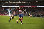 Atletico de Madrid's Saul Niguez and RCD Espanyol's Oscar Esau Duarte during La Liga match between Atletico de Madrid and RCD Espanyol at Wanda Metropolitano Stadium in Madrid, Spain. December 22, 2018. (ALTERPHOTOS/A. Perez Meca)