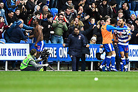 Yakou Meite and the Reading bench celebrate after scoring the third and winning goal  during Reading vs Wigan Athletic, Sky Bet EFL Championship Football at the Madejski Stadium on 9th March 2019