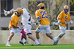 Los Angeles, CA 02-26-17 - Andrew Ferguson (UCSB #14), Jimmy Barlupo (UCSB #5), Ryan Phan (UCSB #25) and Givino Rossini (Loyola Marymount #7) in action during the MCLA conference game between LMU and UC Santa Barbara.  Santa Barbara defeated LMU 15-0.
