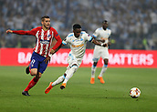 16th May 2018, Stade de Lyon, Lyon, France; Europa League football final, Marseille versus Atletico Madrid; Bouna Sarr of Marseille gets past Lucas Hernandez of Atletico Madrid
