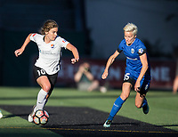 Seattle, WA - Saturday July 22, 2017: Daphne Corboz, Megan Rapinoe during a regular season National Women's Soccer League (NWSL) match between the Seattle Reign FC and Sky Blue FC at Memorial Stadium.