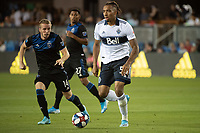 SAN JOSE, CA - AUGUST 25: Theo Bair  #50 of the Vancouver Whitecaps during a game between Vancouver Whitecaps FC and San Jose Earthquakes at Avaya Stadium on August 24, 2019 in San Jose, California.