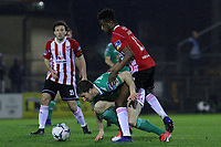 Gearoid Morrissey, Cork City with Junior Ogedi-Uzokwe, Derry City.<br /> <br /> Cork City v Derry City / SSE Airtricity Premier Division / 1.3.19 /  Turner's Cross, Cork / <br /> <br /> Copyright Steve Alfred/photos.extratime.ie/pitchsidephoto.com 2019