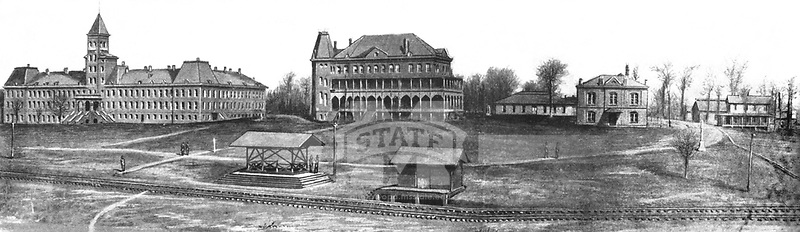 Panoramic of central campus in 1893 <br />