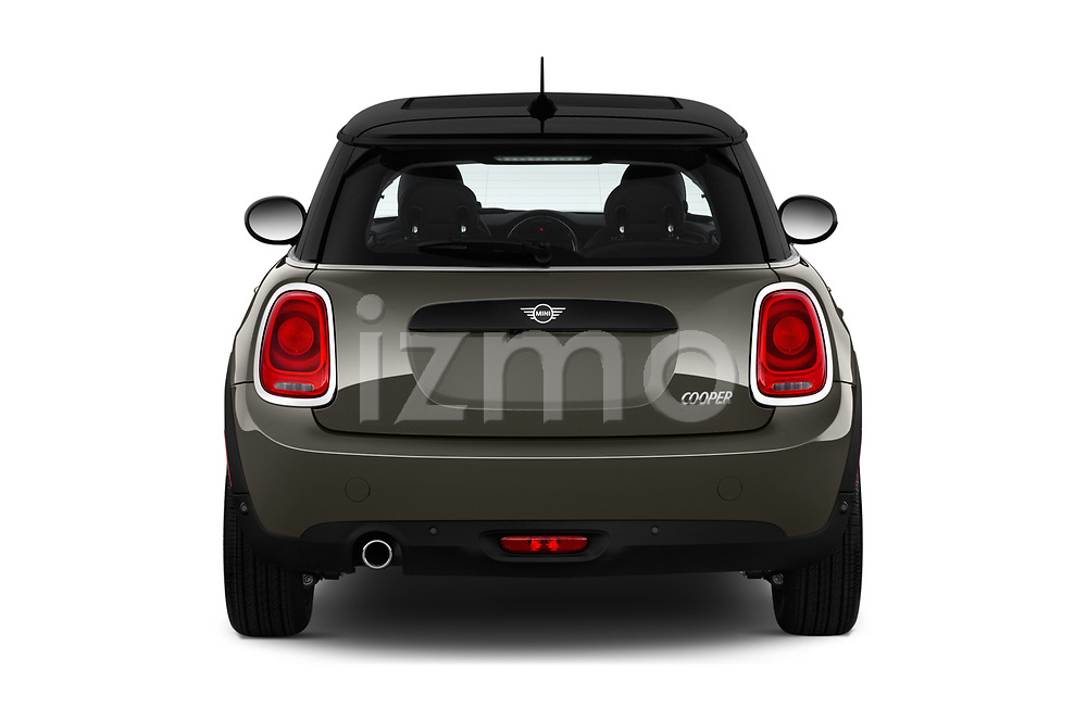 Straight rear view of a 2019 Mini Cooper Hardtop 2 Door 3 Door Hatchback stock images