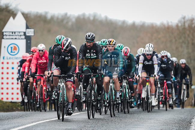Bora-Hansgrohe on the front of the peloton during Stage 2 of the 78th edition of Paris-Nice 2020, running 166.5km form Chevreuse to Chalette-sur-Loing, France. 9th March 2020.<br /> Picture: ASO/Fabien Boukla | Cyclefile<br /> All photos usage must carry mandatory copyright credit (© Cyclefile | ASO/Fabien Boukla)