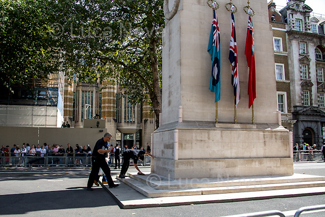 London, 15/08/2015. Today, the 70th Anniversary of the VJ Day (Victory over Japan Day - also known as Victory in the Pacific Day, V-J Day, or V-P Day - is the day on which Japan surrendered in World War II, in effect ending the II World War) was marked in Central London. The Commemoration started with a Saturday's service at St Martin-in-the-Fields church in Trafalgar Square attended by Her Majesty the Queen Elizabeth II (accompanied by The Duke of Edinburgh, The Earl and Countess of Wessex, and The Duke and Duchess of Gloucester), followed by a memorial ceremony at Horse Guard Parade, and finally veterans, war widows and members of their families marched in Whitehall praying and paying their tribute laying wreaths at the Cenotaph.<br /> <br /> For more information please click here: http://bit.ly/1LsUeyQ