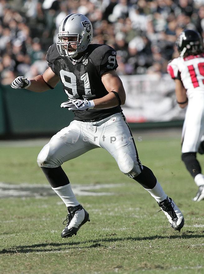 TREVOR SCOTT, of the Oakland Raiders , in action against the during the Raiders Atlanta Falcons game in Oakland,CA on Novmeber 2, 2008. ..Falcons win 24-0