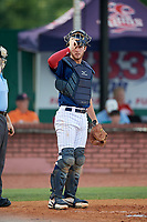 Elizabethton Twins catcher Andrew Cosgrove (5) during a game against the Bristol Pirates on July 28, 2018 at Joe O'Brien Field in Elizabethton, Tennessee.  Elizabethton defeated Bristol 5-0.  (Mike Janes/Four Seam Images)