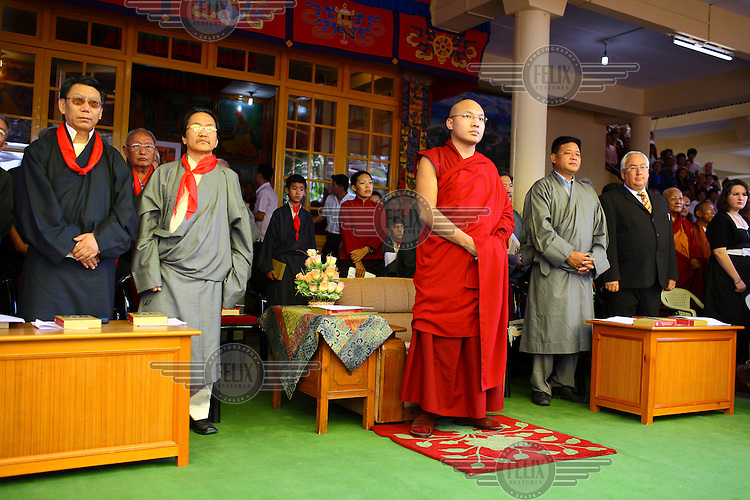 The Seventeenth Karmapa, Ogyen Drodul Trinley Dorje, at celebrations for the Dalai Lama's 74th birthday. In 1992 a 7-year-old Tibetan nomad, Apo Gaga, was recognised as the Seventeenth Karmapa and went to live in Tolung Tsurphu Monastery, the historic seat of the Karmapas. He escaped Tibet for India at the turn of the millennium in order to continue without interference the primary role of the Karmapa, preserving and propagating the Buddhist teachings of Tibet.