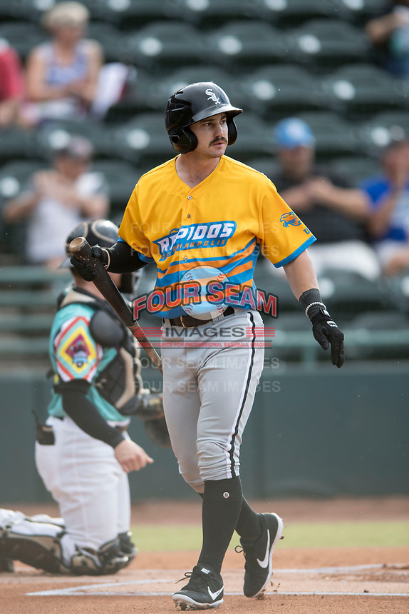 Ian Dawkins (8) of the Los Rapidos de Kannapolis in action during a game against Las Llamas de Hickory at L.P. Frans Stadium on July 17, 2019 in Hickory, North Carolina. The Llamas defeated the Rapidos 7-5. (Tracy Proffitt/Four Seam Images)