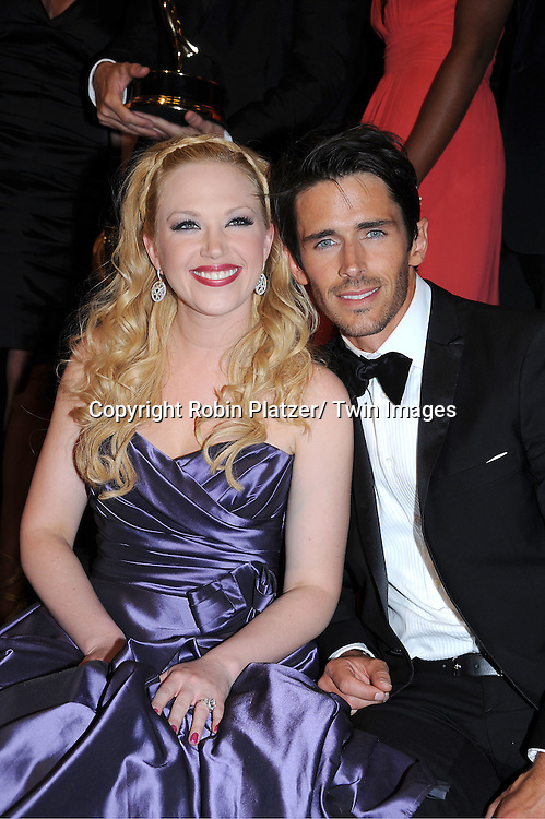 Adrianne Frantz and Brandon Beemer posing in the press room at the 38th Annual Daytime Emmy Awards  on June 19, 2011 at The Las Vegas Hilton in Las Vegas Nevada. ..