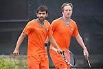 April 25, 2014; San Diego, CA, USA; Pepperdine Waves player Rakshay Thakkar (left) and Tom Hill (right) during the WCC Tennis Championships at Barnes Tennis Center.